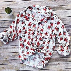 Just Living | Floral Button Down Shirt Blouse